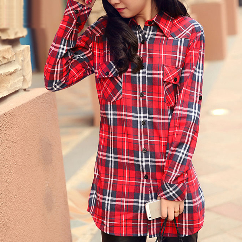 Red checked shirt womens artee shirt Womens red tartan plaid shirt