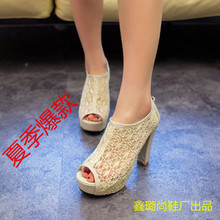2016 New summer High Heels Sandals with fish mouth burst slope leisure sandals shoes wholesale manufacturers