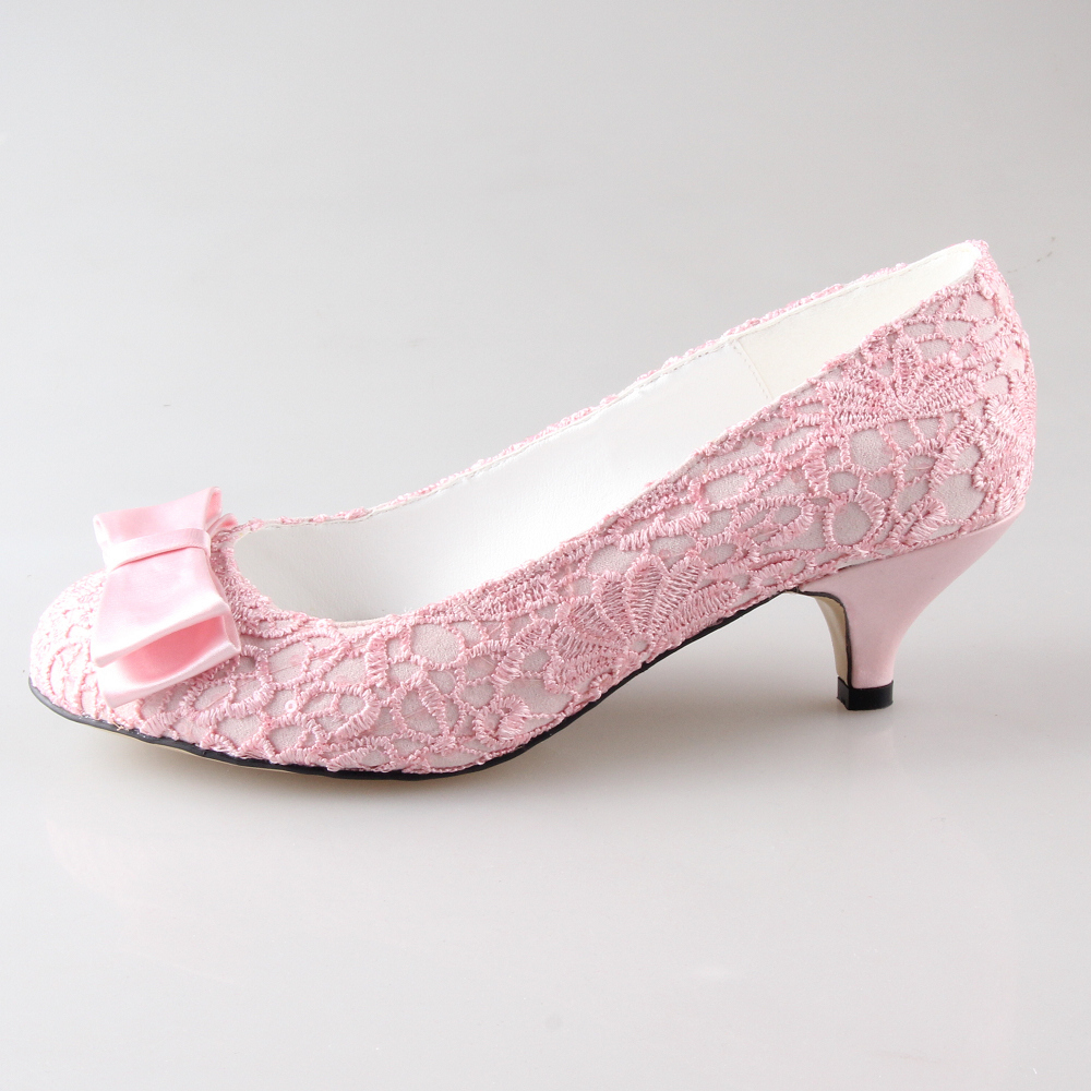 Handmade sweet pale pink lace woman bridal shoes wedding party prom event pumps slip on med low heels custom colors heel height