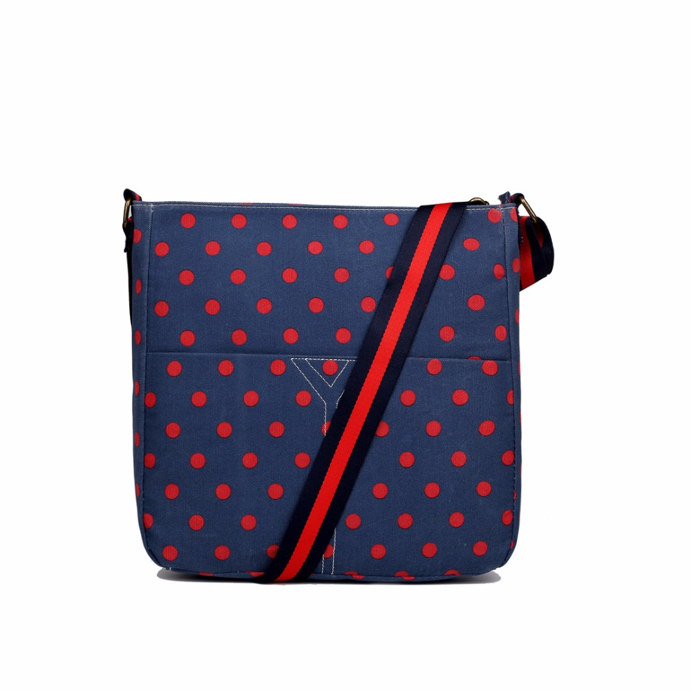 Women Men Small Polka Dots Canvas Messenger Cross Body Satchel Bag Navy And Red LC1632-1 NY/RD(China (Mainland))