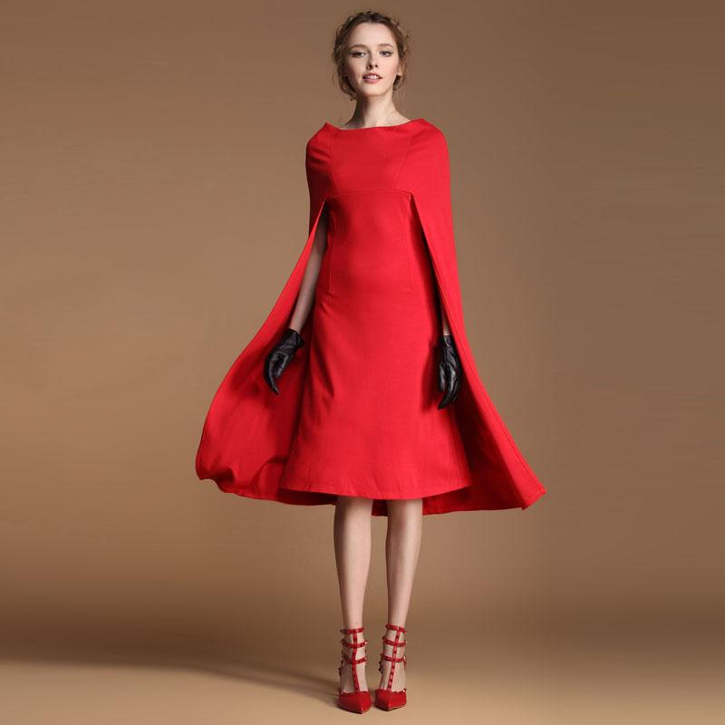 Women New Fashion Brand Personality Vintage Cloak Fashion Red One Piece Dress Slit Neckline Cape