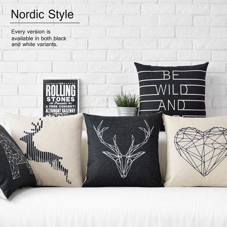 Free Shipping Linen Throw Pillow Hot Sale New Fashion Wedding Decor 45cm Black and White Geometry Home Office Sofa Car Cushion