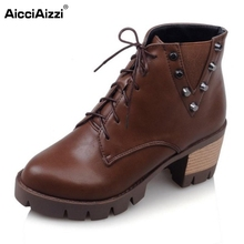 Buy Women Fashion Thick Heel Martin Boots Woman Round Toe Lace Ankle Boot Ladies Stylish Rivets Footwear Shoes Size 34-43 for $22.89 in AliExpress store