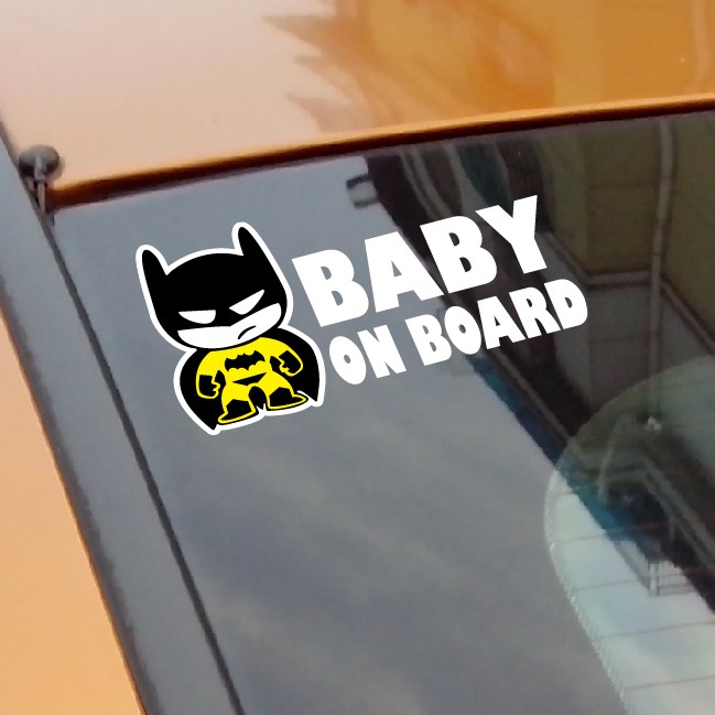 "Baby Batman ""BABY ON BOARD"" Vinyl Car Decal Sticker / reflective tape stickers(China (Mainland))"