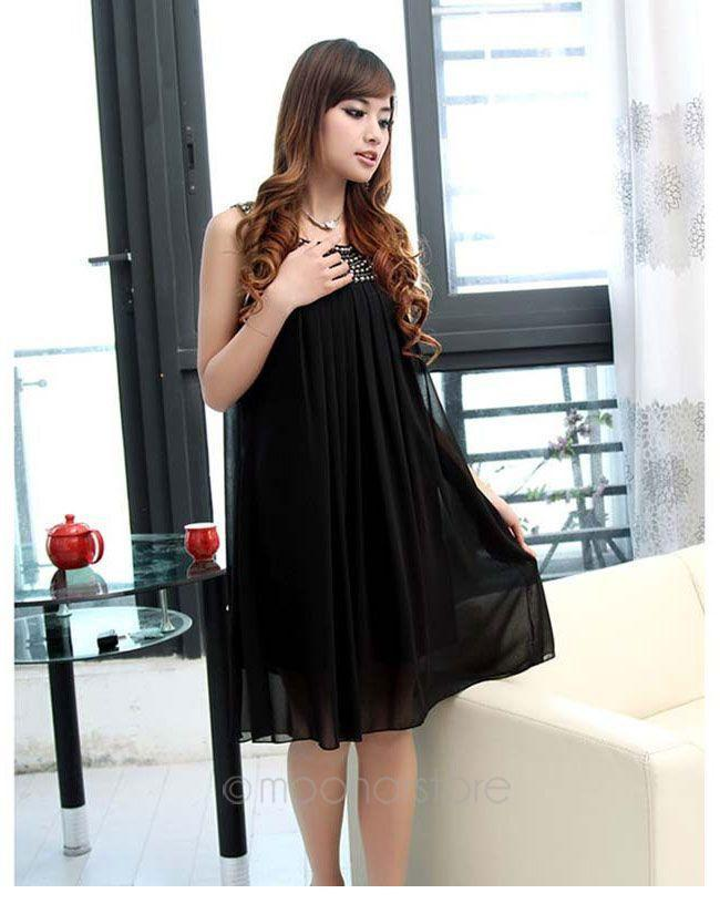2015 summer fashion new temperament sleeveless solid knee length women chiffon dress for pregnant woman C1USE1375#C1(China (Mainland))