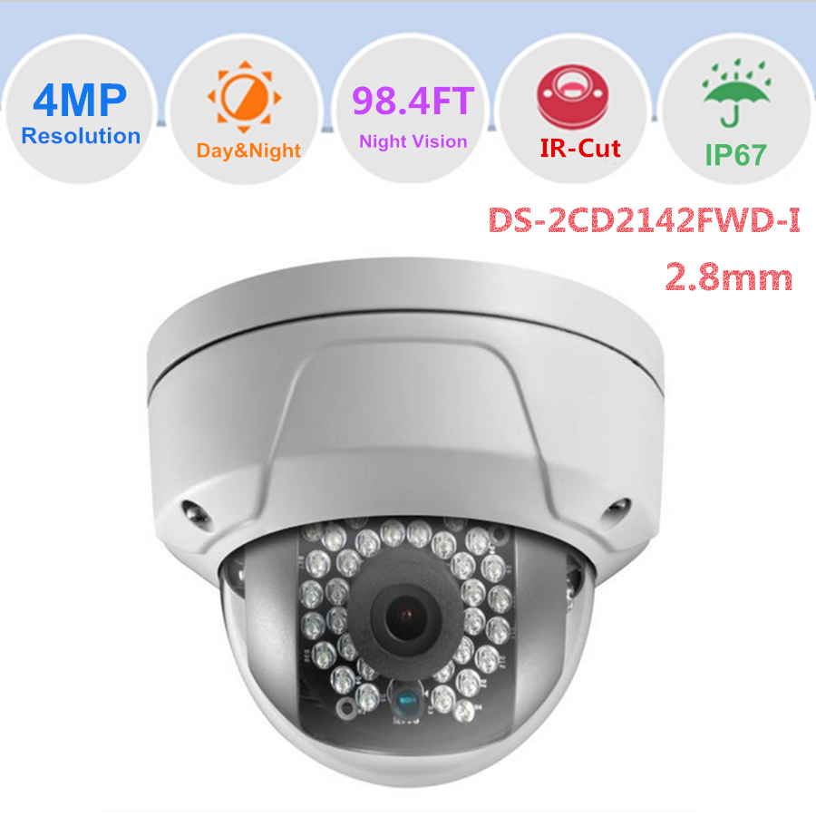 Full HD 4 Megapixel IP Camera DS-2CD2142FWD-I Dome Network Best Outdoor Security Camera Home Security CCTV Camera 2.8mm Lens(China (Mainland))