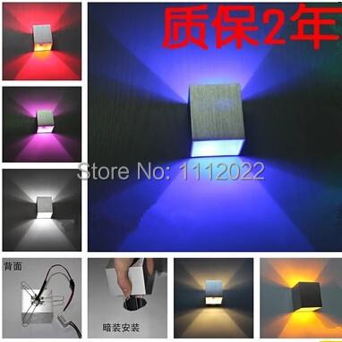 Bathroom lighting fixture modern wall light 3w 20pcs square bedside lamp reading lamp wall lamp luminaire headboard for kitchen(China (Mainland))