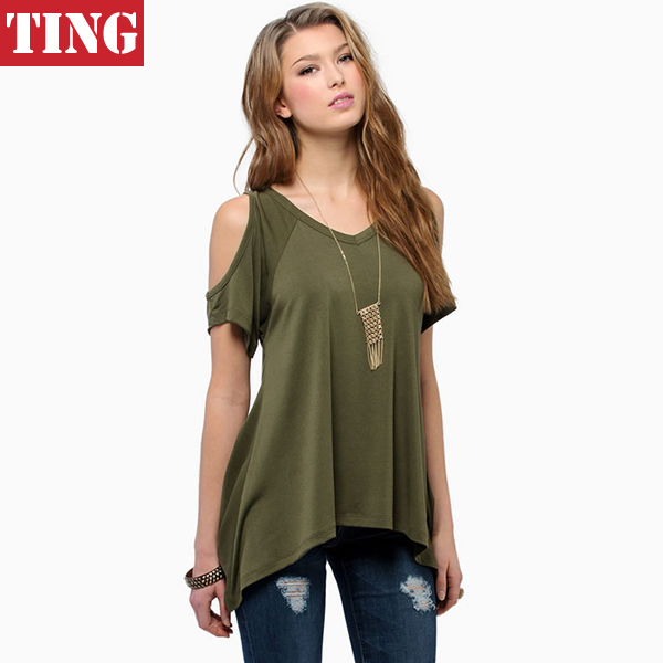 2015 new army green off shoulder v neck women t shirt