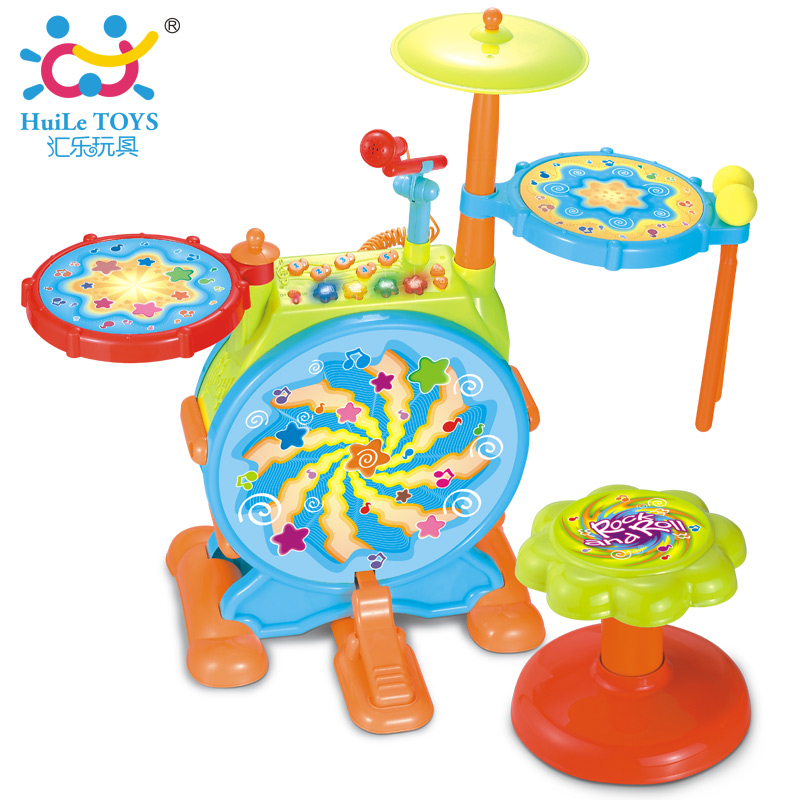 2-in-1 Children Musical Instrument Boy & Girl Electronic Rock Roll Jazz Drum Kit Set w/ Piano Keyboard and Microphone and Stool(China (Mainland))