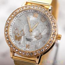 Women's Golden Color Butterfly Face Style Mesh Band Quartz Analog Wrist Watch
