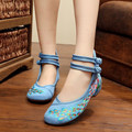 summer Bright Peacock Embroidery Women Shoes Old Peking Mary Jane Flat Heel Denim Flats with