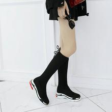 2018 Kış sıcak Kürk Diz Yüksek Çizmeler Kadınlar Faux Süet Düz Topuk Rahat Moda Platformu Çizmeler Kadın Ayakkabı Artı Boyutu 43(China)