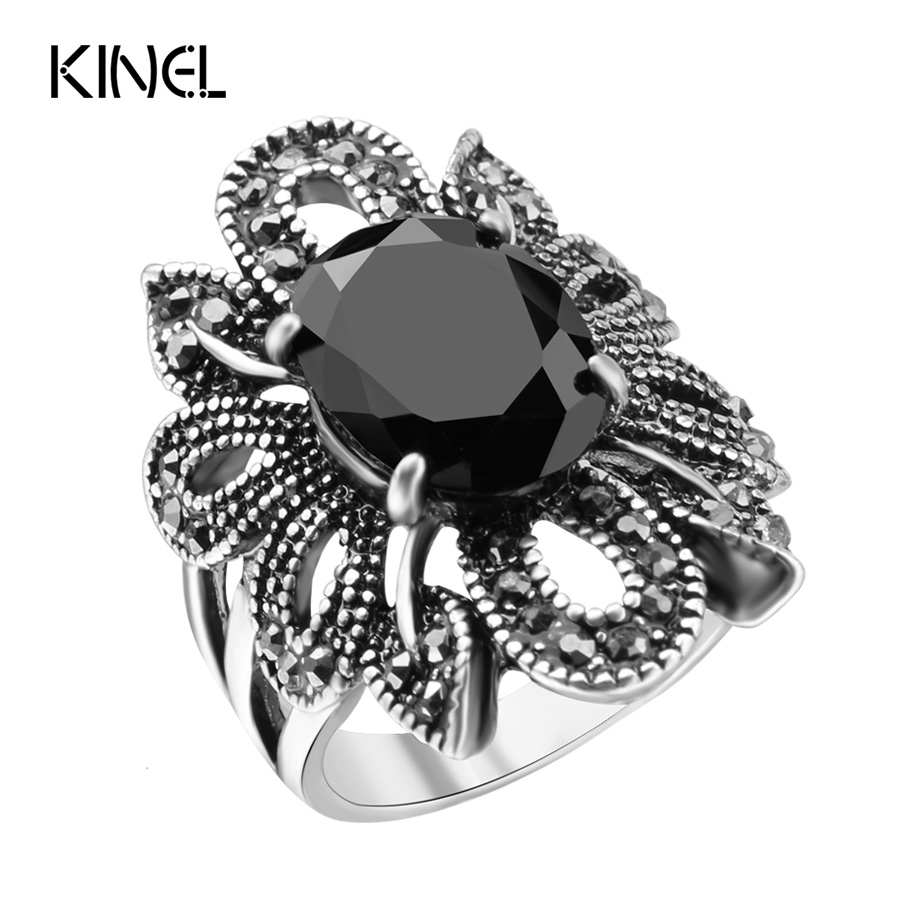 Punk Rock Ring Jewelry Silver Restoring Ancient Ways Black Agate Stones Hollow Female Personality Hipster Index Finger Rings - kinel Retro store