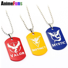 Buy New Pokemon Go Dog Tag Necklace Game Anime Metal Team Valor Mystic Instinct Logo Bead Chain Women Men necklace for $1.34 in AliExpress store