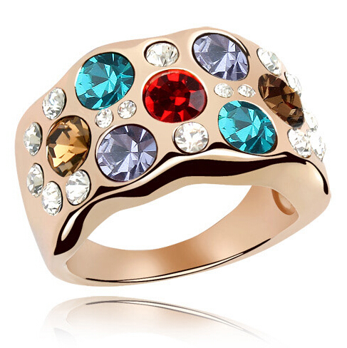 Luxurious Multicolor Crystal Rose Gold Plated Made With Swarovski Elements High Quality Rings For Women(China (Mainland))