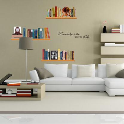50*60CM 3D imitation bookshelves design DIY wall art stocker for home decor wall decals sticker for study room fashion wallpaper(China (Mainland))