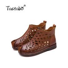 Tastabo Yeni ajur yarım çizmeler Düz Hakiki Deri Kadın Ayakkabı Nefes Rahat Alçak topuk tasarım kaymaz taban(China)