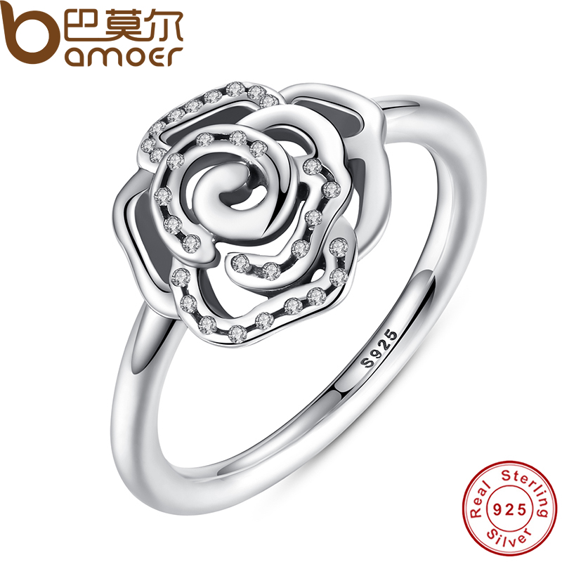 BAMOER Shimmering Delicate Rose Flower Ring with Clear CZ Ring Original 100% 925 Sterling Silver Jewelry PA7138(China (Mainland))