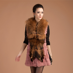 2013 Women's Fashion Real Rabbit Fur Vest with Raccoon fur Collar Long Style Waistcoat Free Shipping