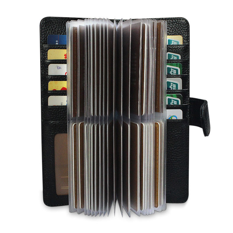 52 Slots Genuine Leather Men Business Card Holder Women Credit Card Case Bank/ID Card Bag Luxury Wallet High Quality porte carte(China (Mainland))