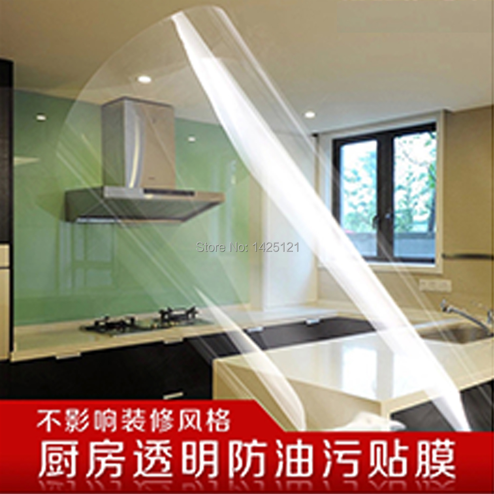 Kitchen pvc adhesive wall paper roll window glass film transparent dust-proof oil stickers waterproof tile cabinet RINSES EASILY(China (Mainland))
