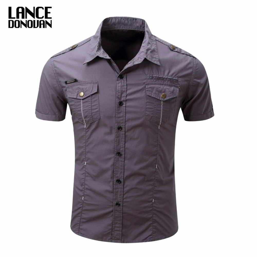 US SIZE S-3XL Solid Color 2017 Summer Fashion Men Short Sleeve Shirts Military Cago(China (Mainland))