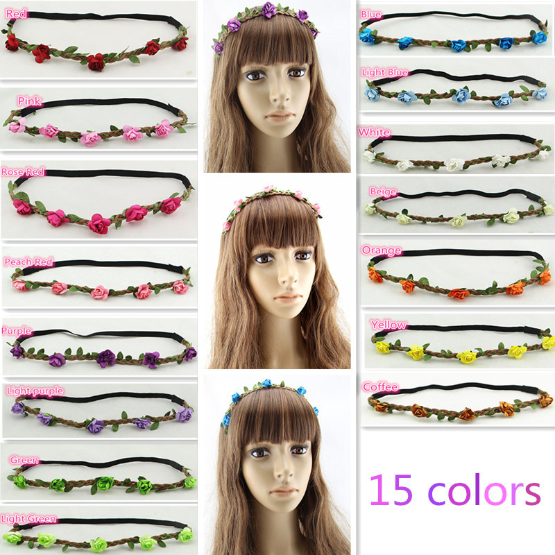 15 colors 2015 hair accessories Women's headband Bohemian Floral Flower Rose Party Wedding Hair Wreaths Elastic Hair Bands(China (Mainland))