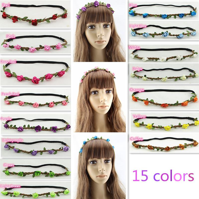 15 colors 2015 hair accessories Women's headband Bohemian Floral Flower Rose Party Wedding Hair Wreaths Elastic Hair Bands(China (Mainland))
