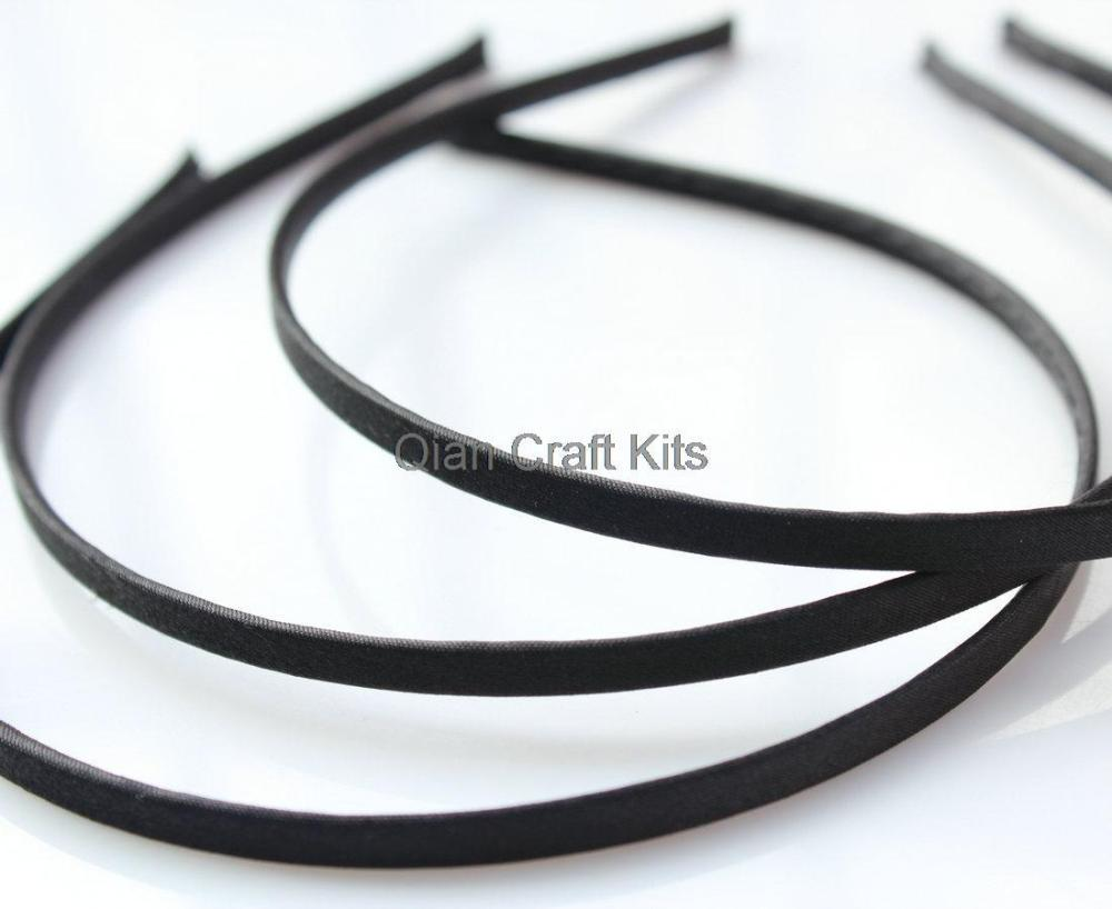 50pcs 5mm Satin Ribbon double sided full Covered Metal(Steel) Headbands blackОдежда и ак�е��уары<br><br><br>Aliexpress
