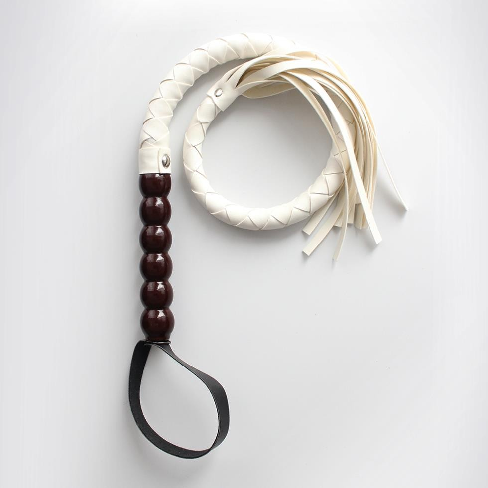 Hand Made Wooden Handle Soft Suede Leathe Flogger Whip, Riding Crop Sex Aid Spanking Paddle,Sex Toys For Couple(China (Mainland))