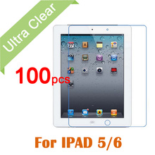 100pcs/lot For iPad Air 1 23 Clear HD Glossy LCD Screen Protector For Apple iPad5 6 Tablet PC Transparent Protective Film +cloth
