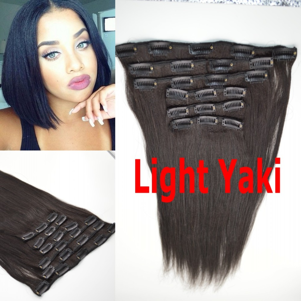 Mongolian VlRGIN hair coarse yaki straight clip in hair extensions for black woman