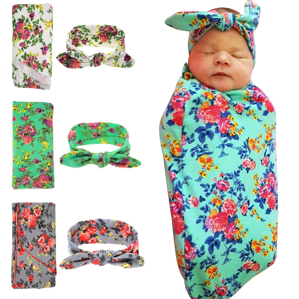 Baby swaddle Top knot headband Swaddle & headwrap Newborn photo prop Hospital set Nursing cover, baby gift, stretchy 1set HB568(China (Mainland))