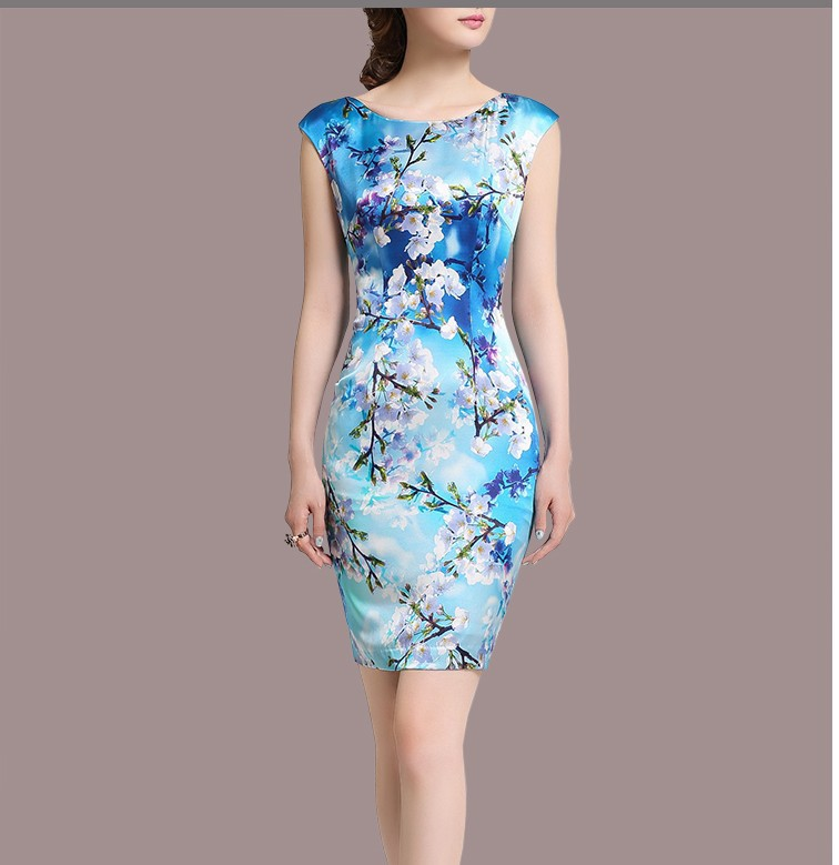 Summer new large size heavy silk printed package hip Slim was thin high-grade silk satin dress(China (Mainland))