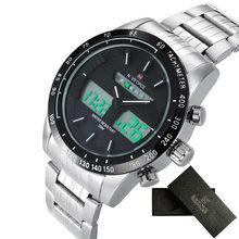 NAVIFORCE décontracté hommes Sport LED montre numérique étanche montres à Quartz hommes marque de luxe bande en acier relogio masculino horloge(China)