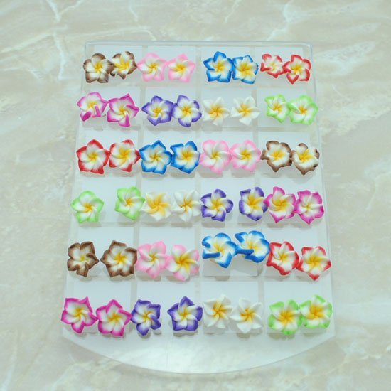 Wholesale Fashion Cute Young Polymer clay Stud Earrings Glue needle Not allergic flower style color mix Free 0 E420