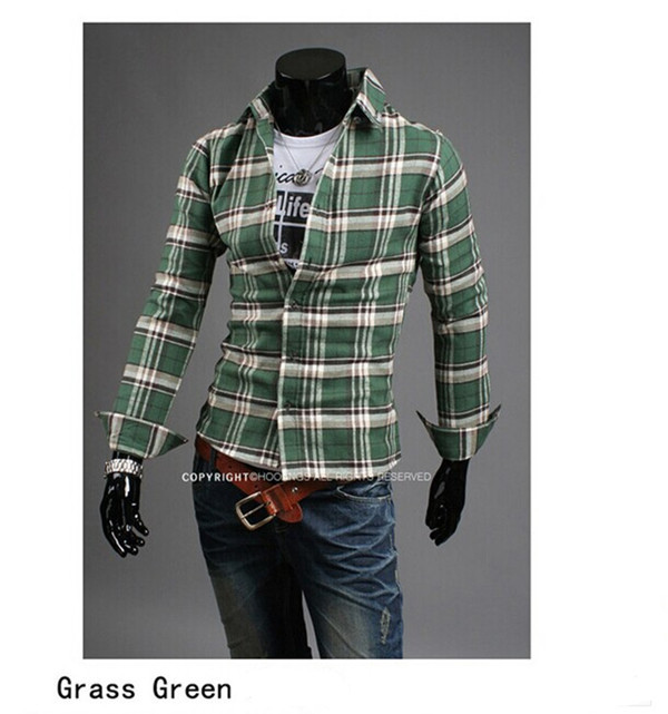 1 pc hot sale cheap price new products 2015 plaid slim turn down collar for adults dress shirt(China (Mainland))