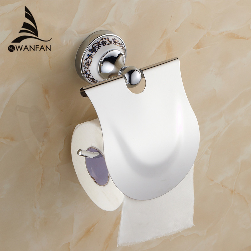 Hot sell Bathroom Accessories Blue & White Porcelain Solid Brass Golden Finish Toilet Paper Holder/Bathroom Product ST-6708(China (Mainland))