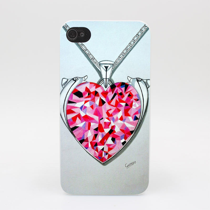 1114HY Said Heart Swarovski Jewelry Hard White Case Cover for iPhone 4 4s 5 5s 5c SE 6 6s Plus Print(China (Mainland))