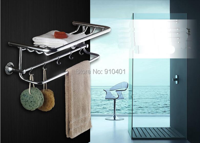 Modern Chrome Bathroom Towel Shelf Storage Holder Towel Bars W/ Hooks Hangers(China (Mainland))