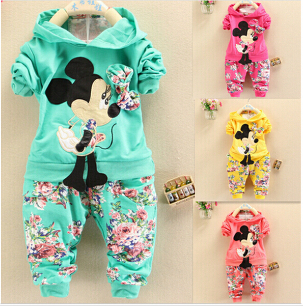 BibiCola Spring Autumn baby girls outfits Sport suit clothing set children hoodies pants kids minnie mouse clothes sets(China (Mainland))