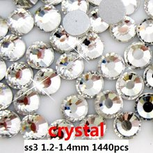 Wholesale crystal color 1440pcs ss3 Crystal Nail Art Rhinestones  coming with high shine