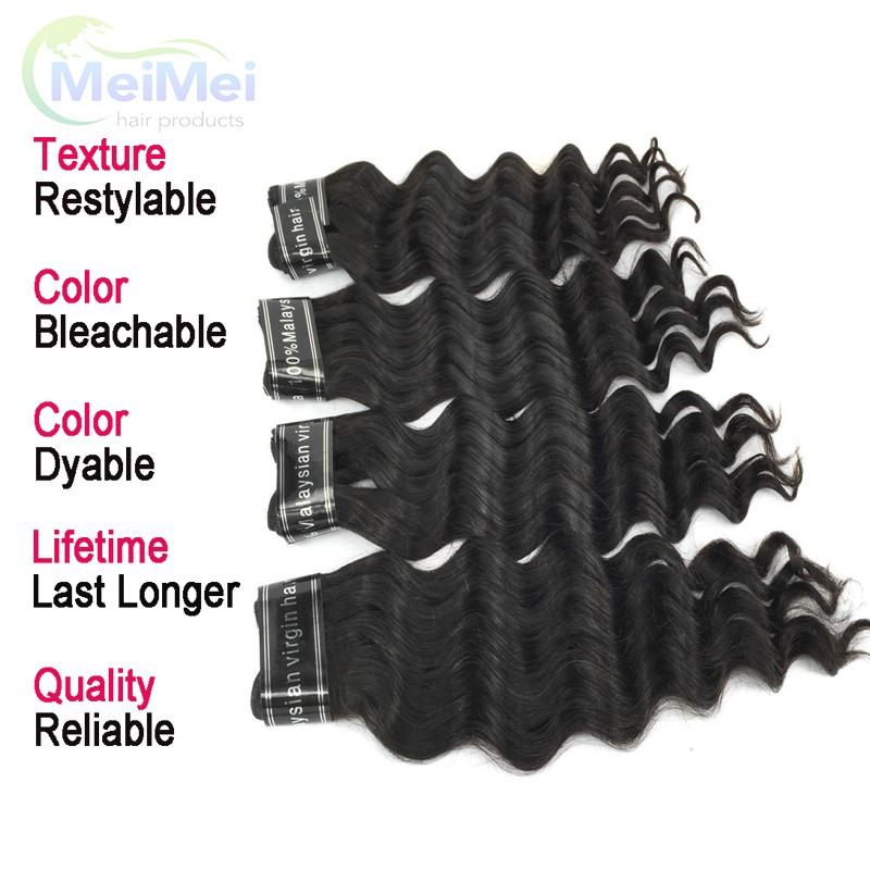 7A Malaysian Virgin Hair 3 Bundles and Closure 18 Inch Loose Deep Wave 4*4 Swiss Lace Closure and Bundles 1B Human Hair Weave