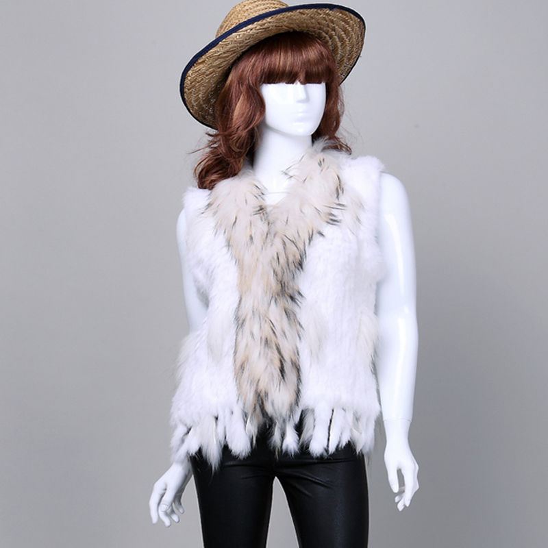 Retail/wholesale real rabbit Fur vest/jacket women Knitted Natural Rabbit Fur real coat/Gilet/waistcoat with raccoon fur collar(China (Mainland))