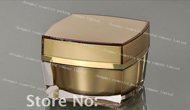30g gold acrylic square shape cream bottle,cosmetic container,cream jar,Cosmetic Jar,Cosmetic Packaging<br><br>Aliexpress