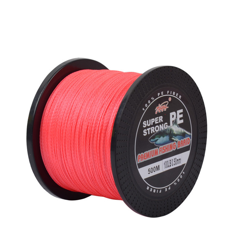 Super hardness 500 m 4 shares PE braided fishing line multicolor vertical jigging fishing tackle free shipping(China (Mainland))