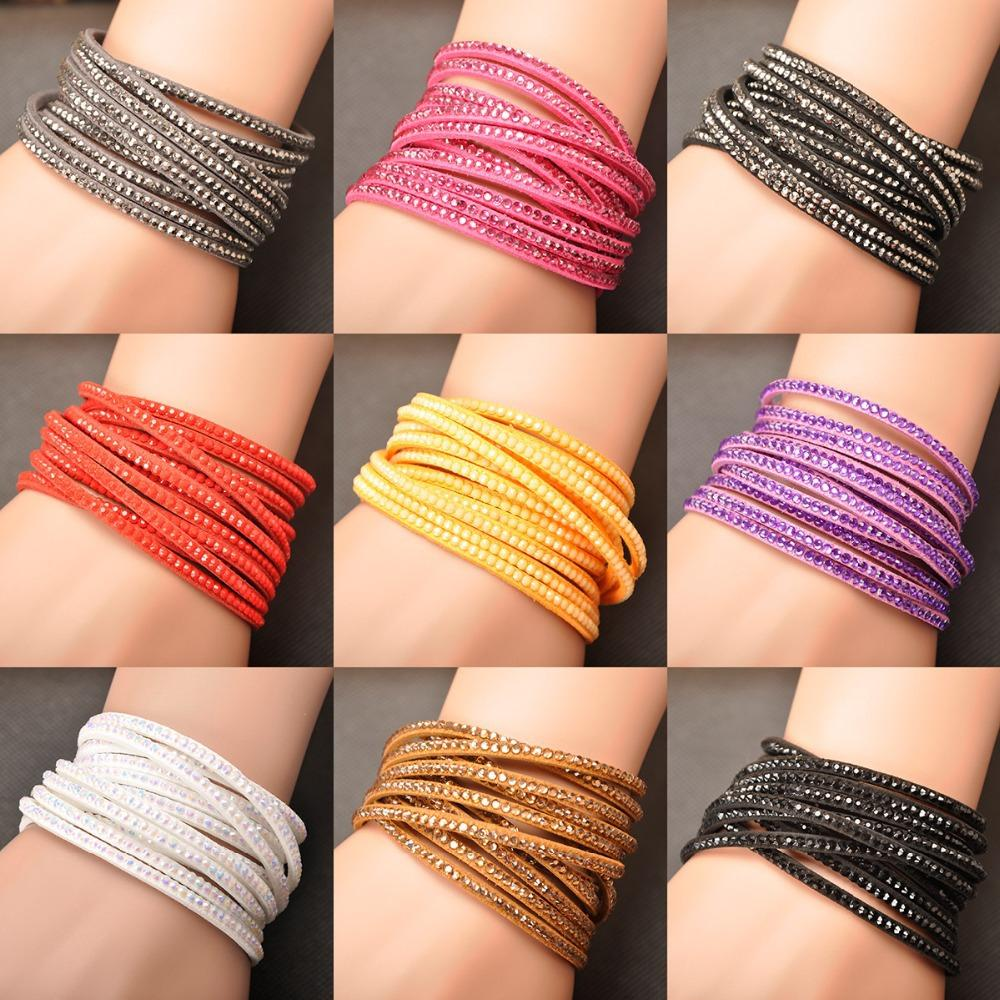 Free Shipping Hot Sale Wholesale Fashion Wrap Bracelet Multilayer Bracelets 9 Colors To Choose For Women Gift WRBR-002(China (Mainland))