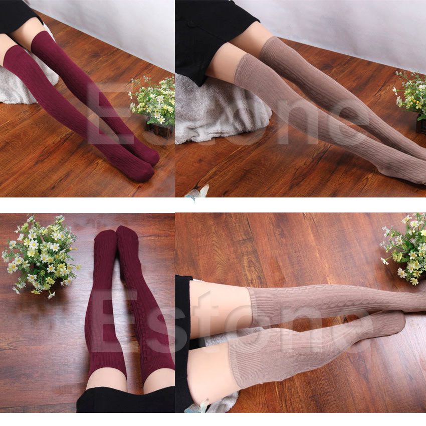 M112 1Pair Women Lady Knitting Cotton Over Knee Thigh Stockings High Tights Pantyhose Tights