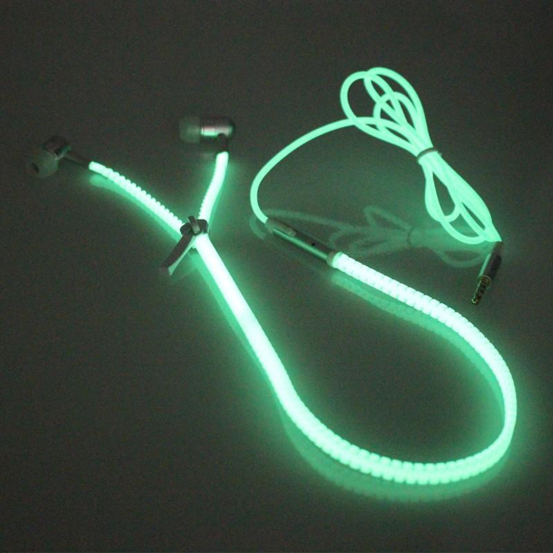 New Glow In The Dark Earphone Metal Zipper Luminous Earphones Night Lighting Glowing Headset With Mic Handsfree For All Phones