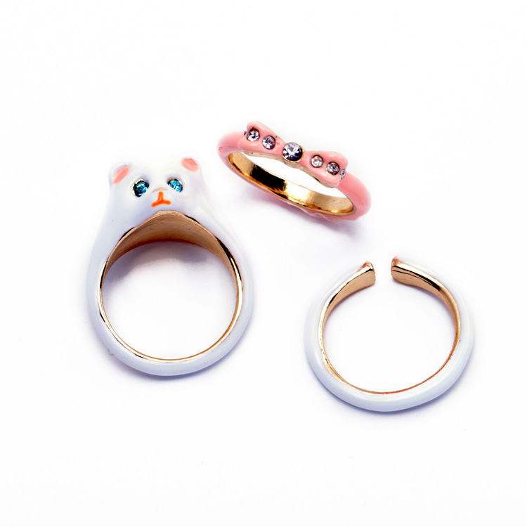 France Les Nereides Cat Bow 3pcs Ring Sets For Women Cute Elegant Unique Rings Brand Jewelry(China (Mainland))